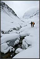 Stephan, the mountain guide, gives explanation on the Zinal Glacier, Switzerland, Europe