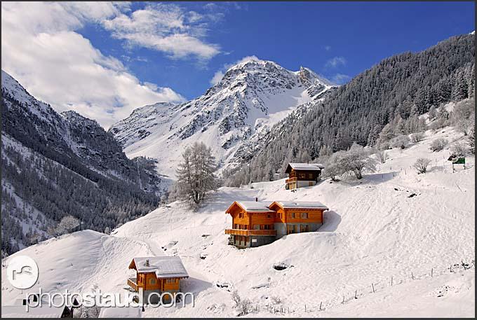 Winter landscape in the Swiss Alps, Zinal, Valais, Switzerland, Europe