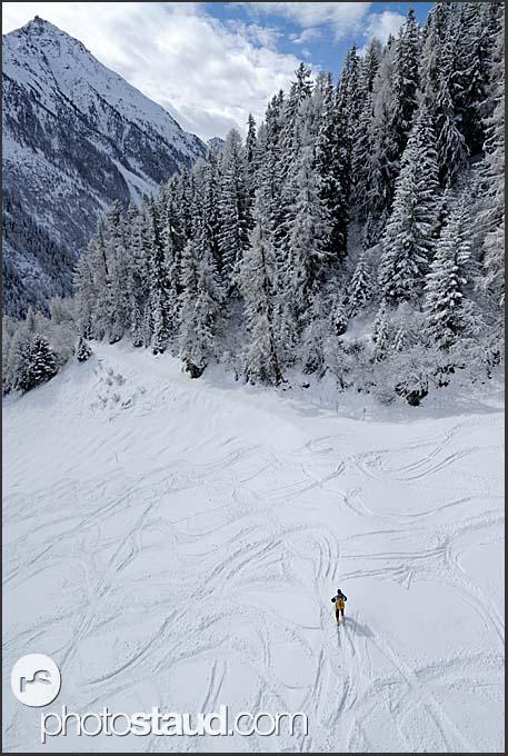 Freeriding in Grimentz, Swiss Alps, Switzerland, Europe