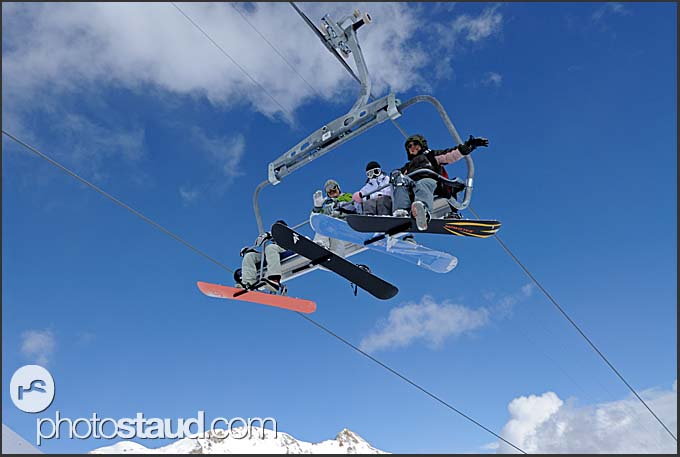 Skiers on gondola at Tsarva in Grimentz, Swiss Alps, Switzerland, Europe