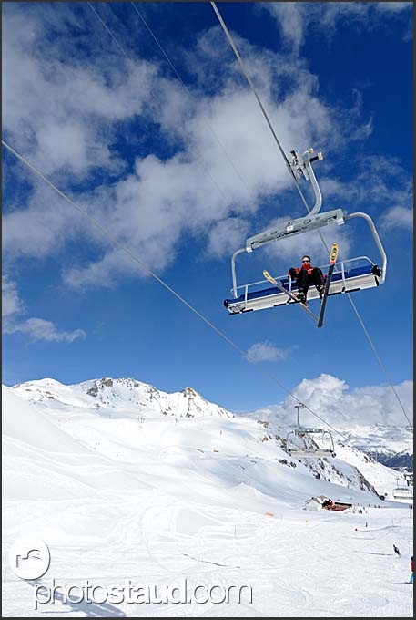 Skiers on gondola, Grimentz, Valais Alps, Switzerland, Europe