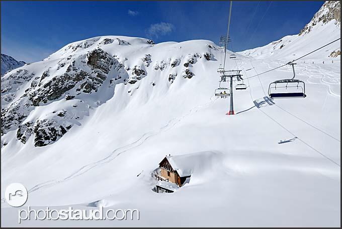 Ski resort in Grimentz, Zinal, Switzerland, Europe