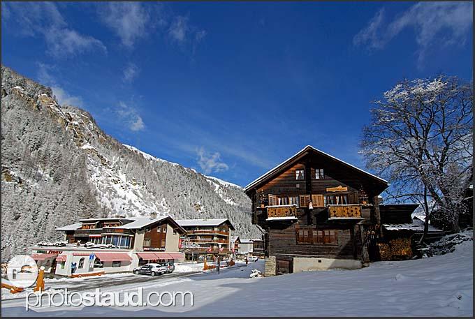 Village of Zinal in winter, Switzerland, Europe