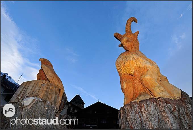 Wooden animal statues in Vissoie village, Switzerland, Europe