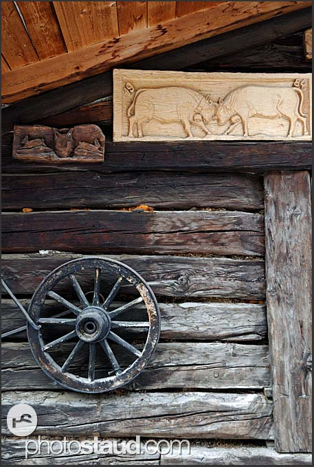 Typical wall decoration of the wooden houses in Zinal village, Switzerland, Europe