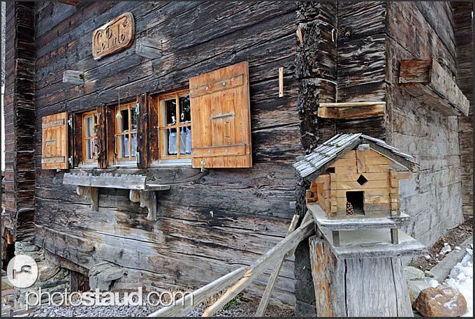 Old wooden houses in Zinal village, Switzerland, Europe