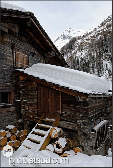 Old wooden houses in Zinal village, Switzerland, Europe