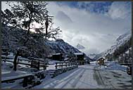Village of Zinal in winter, Switzerland, Europe