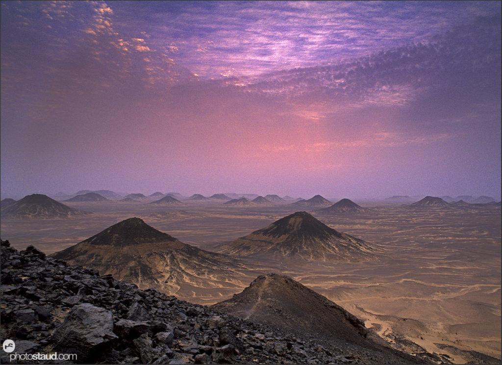 Dusk in the volcanic landscape of the Black Desert, Egypt