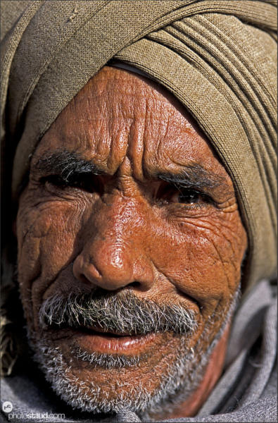 Wrinkled face of Arabic man, Egypt