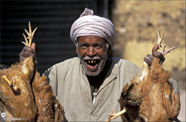 Smiling toothless man in turban with dead chickens in hands, Luxor - Thebes, Egypt