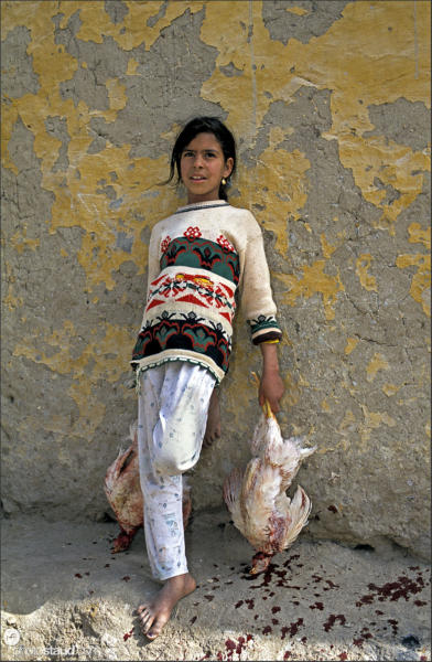 Egyptian girl with dead chickens in hands, El Bawiti, Bahariya Oasis, Libyan Desert, Egypt