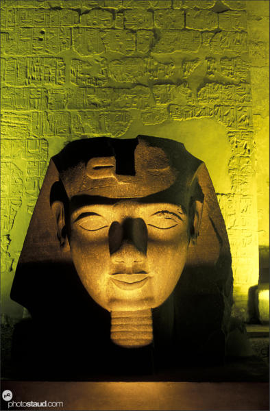 Satue of Ramesses II artificially lit in Luxor Temple, Egypt