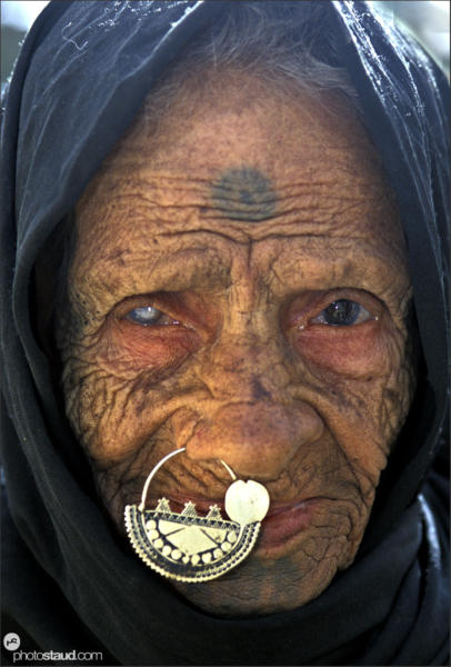 Close up portrait of 90-year-old Arabic woman, Bahariya Oasis, Libyan Desert, Egypt
