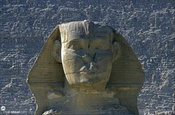 Detail of the great Sphinx with Khafre pyramid behind, Giza, Egypt