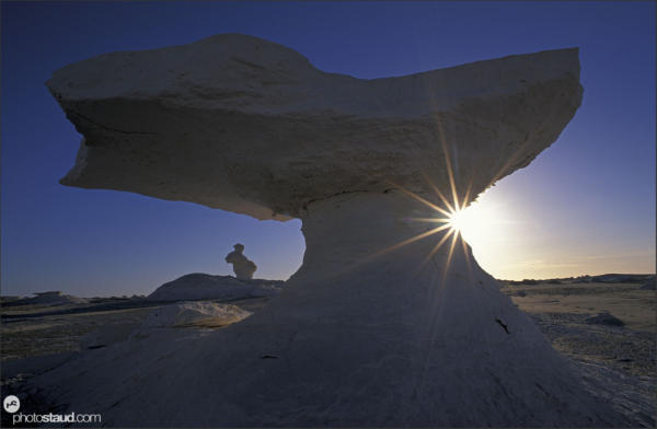 Bizarre rock formations in the landscape of White Desert during sunrise, Egypt