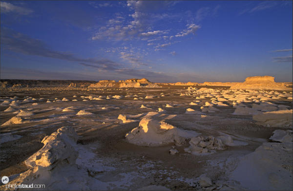 Fantastic scenery of the White Desert landscape at sunset, Egypt