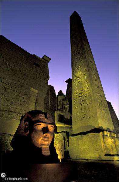 Night illumination of the Luxor Temple – Ramesses II and Obelisk, Luxor - Thebes, Egypt