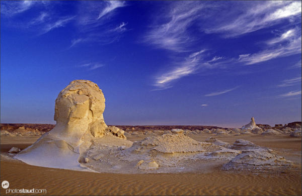 Wind-sculpted rock formations in the landscape of White Desert, Egypt