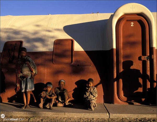 Bushman children in front of school in Den/ui village, Bushmanland, Namibia