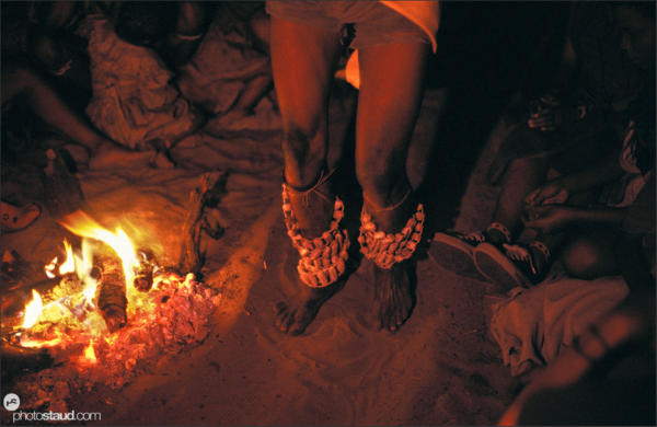 Decorated legs of Bushmen performing night dances, Den/ui village, Namibia