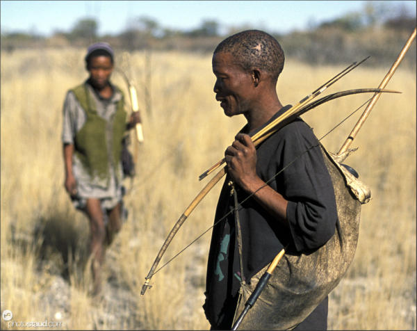 Bushman hunters tracking their quarry, Namibia