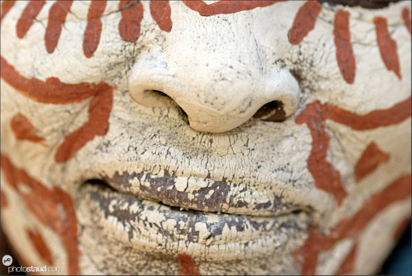 Nose and lips of Kikuyu tribeswoman with traditionally painted face, Kenya