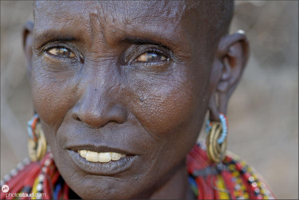 Samburu woman wearing colorful tribal decorations, Kenya