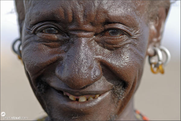 Close up portrait of Turkana medicine man, Kula Samaki, Northern Kenya