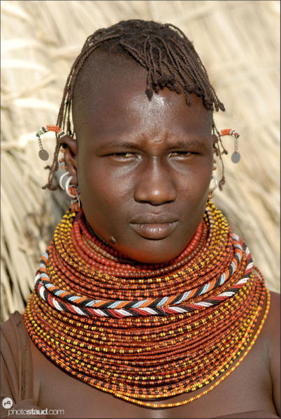 Turkana girl with traditional tribal bead ornaments, Northern Kenya