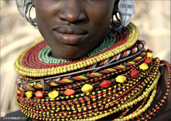 Detail of Turkana tribal decorations, Loyangalani, Northern Kenya