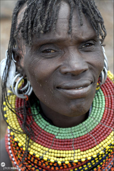 Close up of Turkana woman wearing typical tribal decorations, Northern Kenya