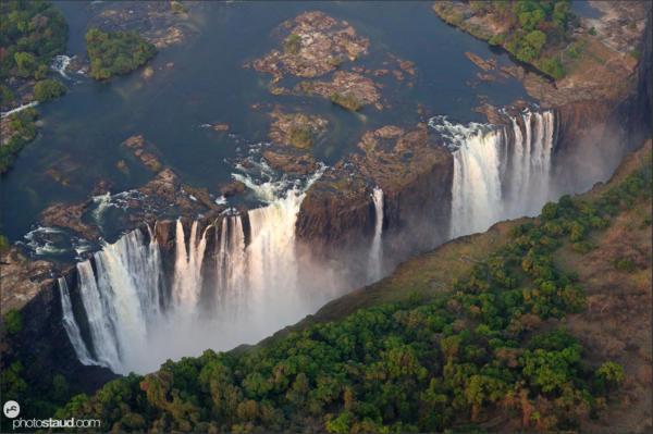 Aerial photograph of Victoria Falls, Zambia