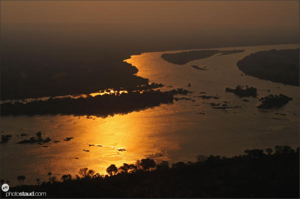 Aerial photograph of the Zambezi River at sunset, Zambia