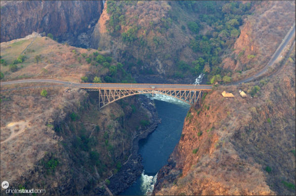 Victoria Falls bridge spanning Zambezi River connecting Zimbabwe and Zambia