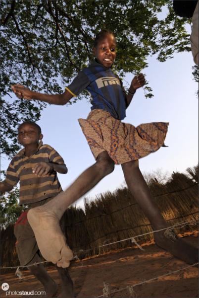 Zambian children rope skipping, Zambia