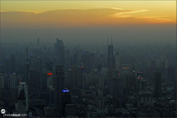 Sunset over Shanghai City, China