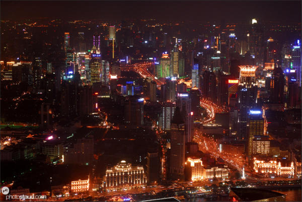 Cityscape of Shanghai at night, China