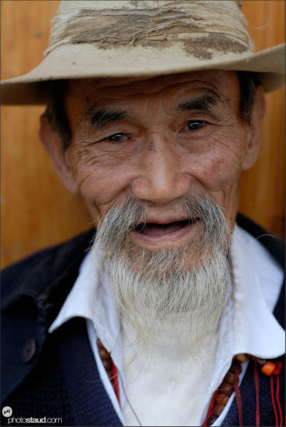 Old Naxi man in Shuhe village, Yunnan, China