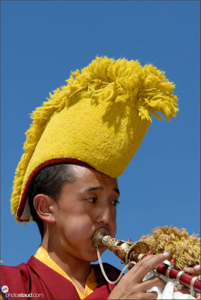 Tibetan monk playing, Zhongdian – Shangri-la, Yunnan, China
