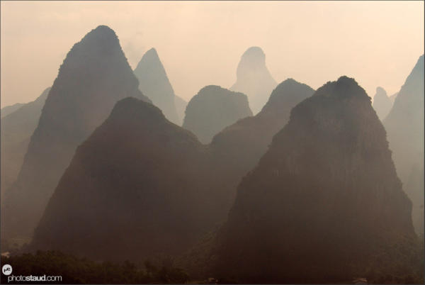 Sunrise in the landscape of Yangshuo, Guangxi, China