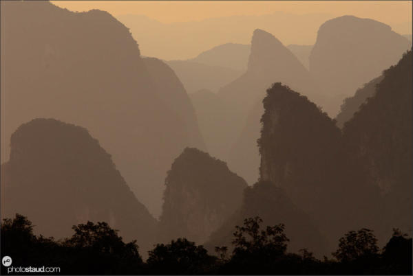 Karst peaks in the landscape of Yangshuo, Guangxi, China