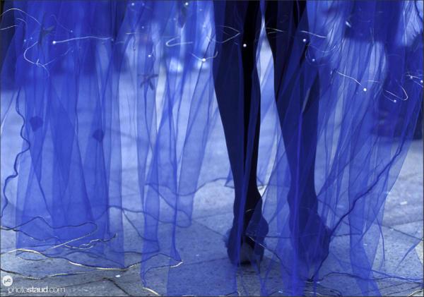 Legs and blue veil, Venice carnival, Italy