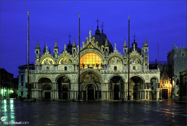 Basilica di San Marco St Mark's Basilica at dark, Venice, Italy
