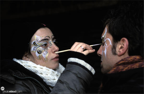 Face painting for Venice Carnival, Italy