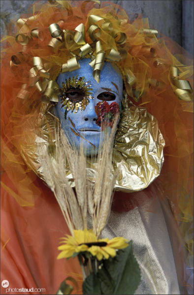 Close-up portrait of Carnival mask in Venice, Italy