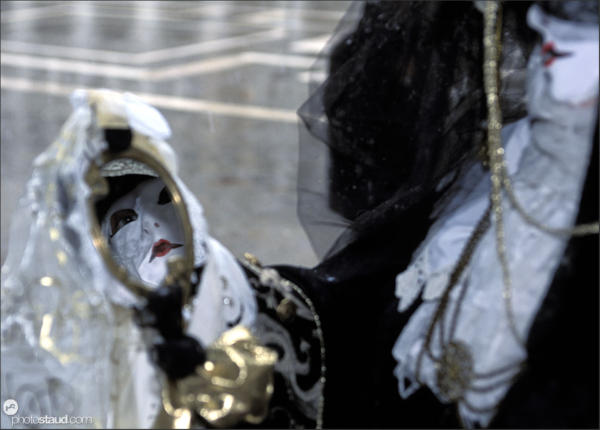Carnival Mask reflecting in mirror, Venice, Italy